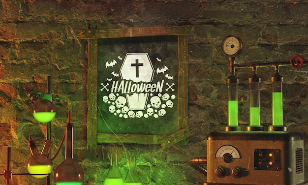 Halloween frame with green light on stone background