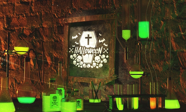 Halloween frame with green neon light on stone background