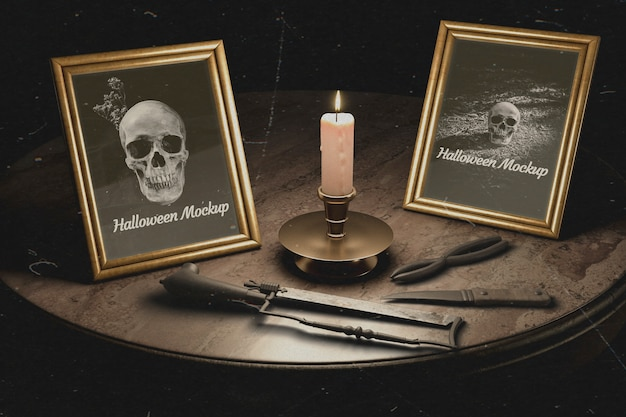 Halloween gothic frames with torture equipment
