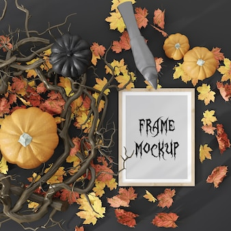 Halloween holiday picture frame surrounded with pumpkins and leaves 3d rendering mockup