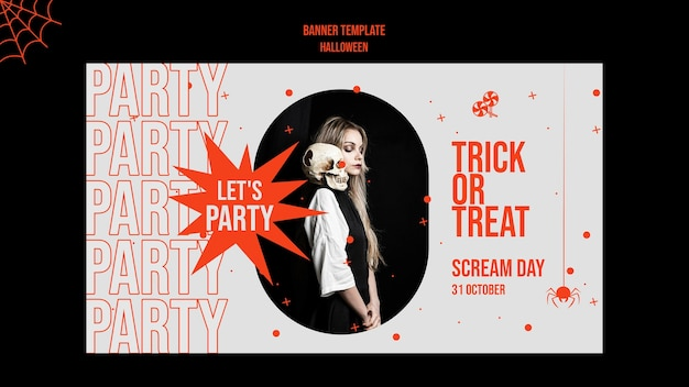 Хэллоуин горизонтальный баннер с фото