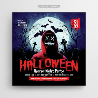 Halloween horror night party flyer social media post and web banner