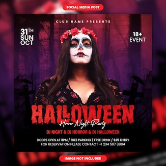 Halloween horror night party social media post and flyer template