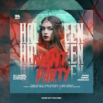 Пост в социальных сетях на вечеринку ужасов на хэллоуин