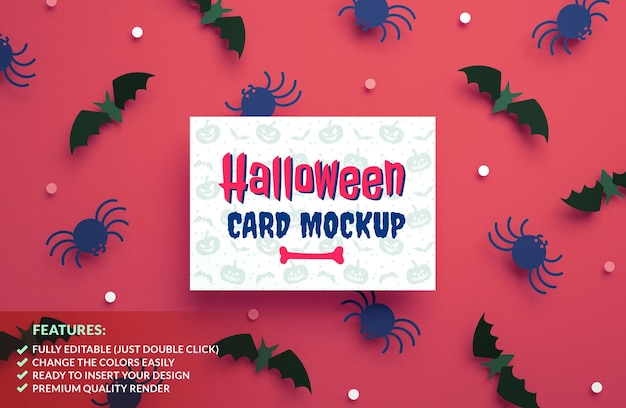 Halloween invitation card mockup with bats and spiders background in 3d rendering