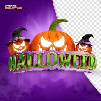Halloween label 3d render for composition