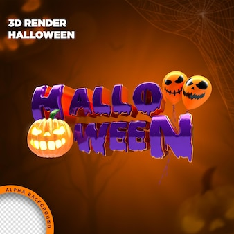 Хэллоуин метка 3d визуализации для композиции