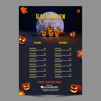 Halloween menu promotion for cafe and restaurant