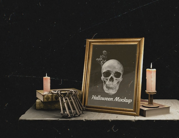 Halloween mock-up frame with skull
