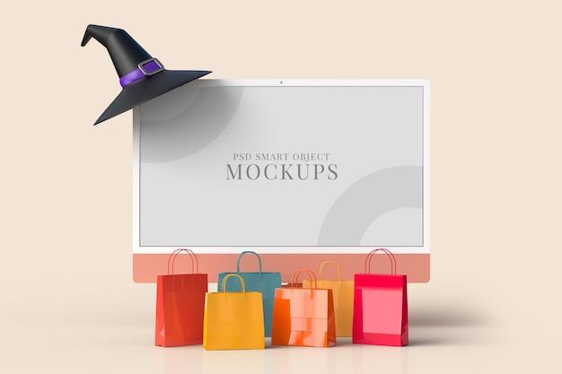 Монитор-макет хэллоуина 24 дюйма с сумкой для покупок. дизайн концепции маркетинга в интернете