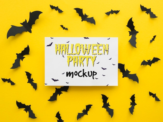 Halloween mock-up with paper bats