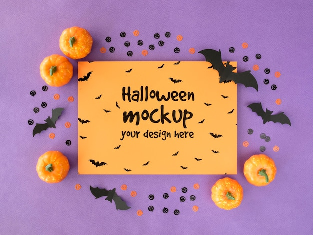 Halloween mock-up with pumpkins and bats