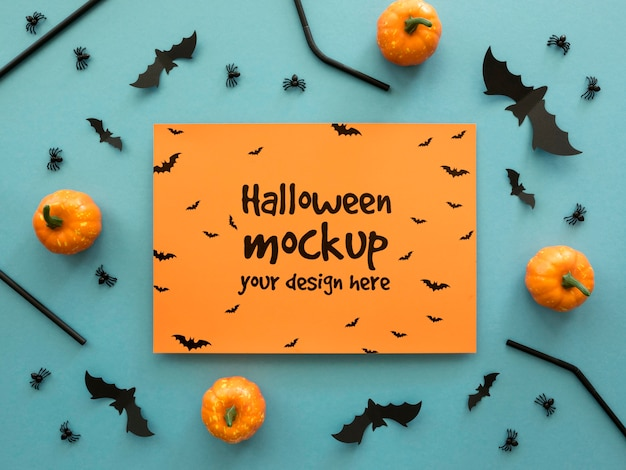 Halloween mock-up with small pumpkins