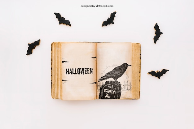 Halloween mockup with book and bats