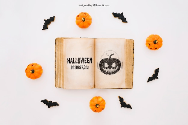 Halloween mockup with book decoration