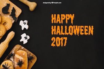 Halloween mockup with bread