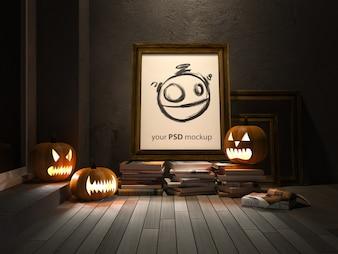 Halloween mockup with frame