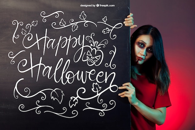 Halloween mockup with girl behind board