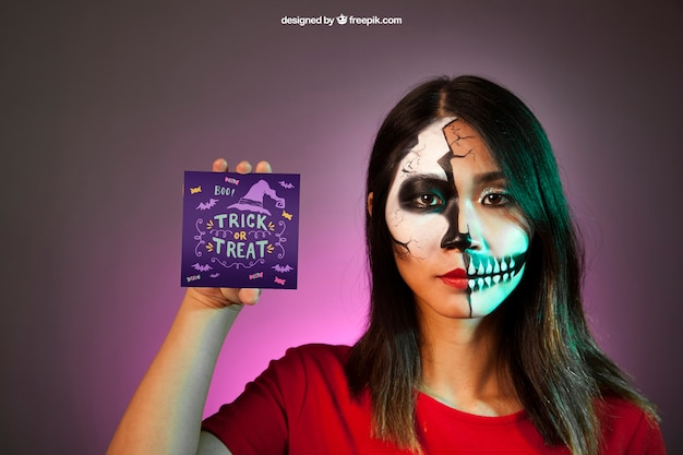 Halloween mockup with girl presenting card