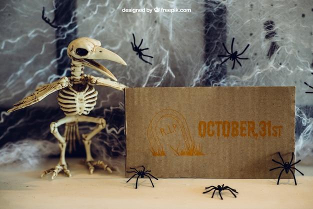 Halloween mockup with skeleton of bird