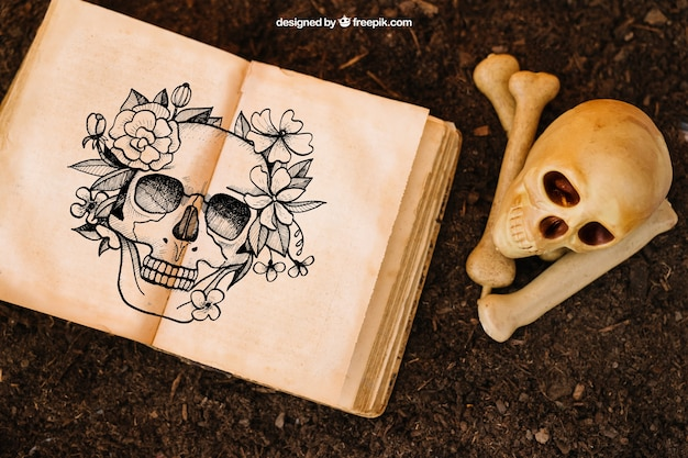 Halloween mockup with skull and open book