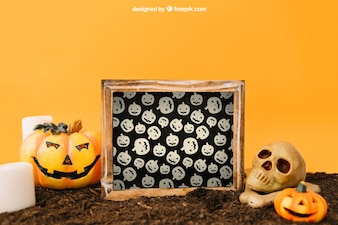 Halloween mockup with slate and pumpkin decoration