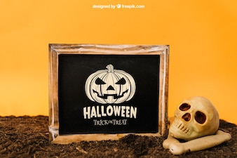 Halloween mockup with slate and skull