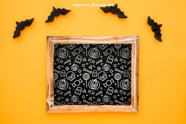 Halloween mockup with slate and bats