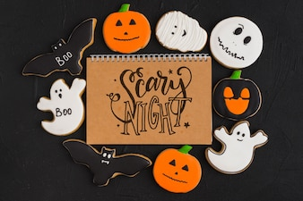 Halloween mockup with spiral notebook cover