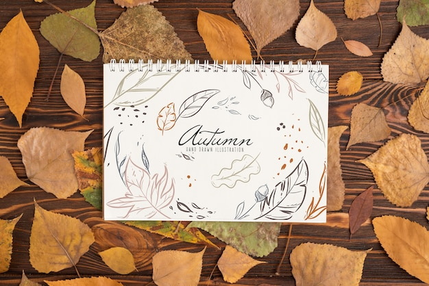 Halloween mockup with spiral notebook