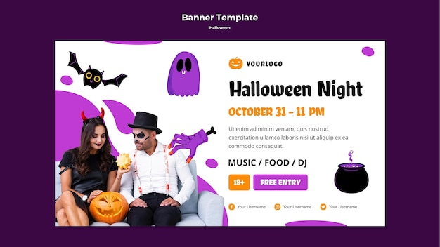 Halloween night banner template