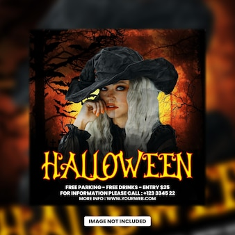Halloween night dj party flyer social media post and web banner premium psd