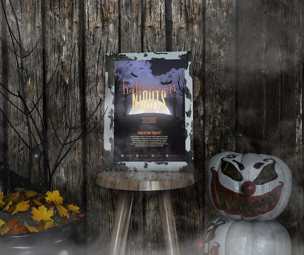 Le notti di halloween incorniciano il modello su una sedia e la nebbia
