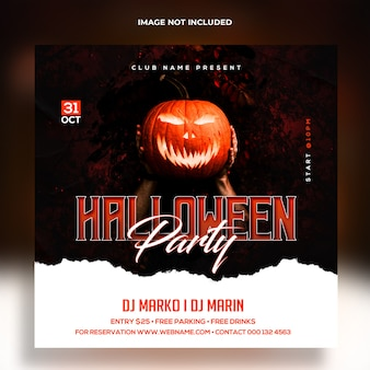 Halloween party banner template premium template