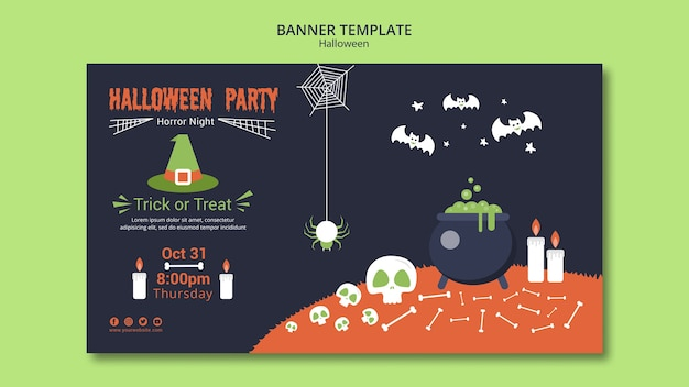 Halloween party banner template with bones and melting pot