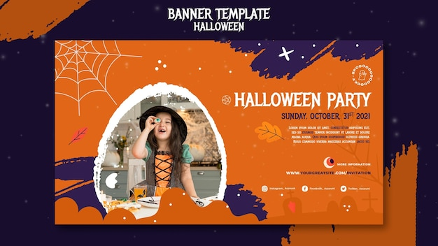Шаблон баннера для вечеринки на хэллоуин