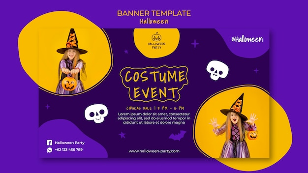 Halloween party horizontal banner template