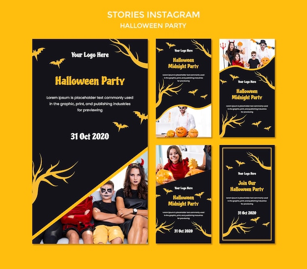 Halloween party instagram stories template