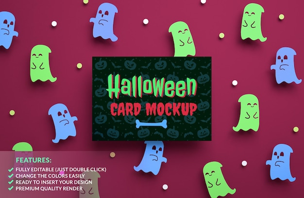 Halloween party invitation mockup on a cute ghosts background in 3d rendering