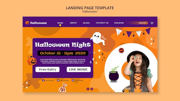 Halloween party landing page