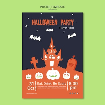 Halloween party night in cemetery poster template