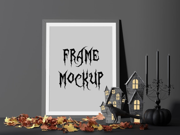 Halloween party picture frame mockup beside horror house