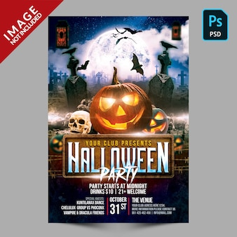 Halloween party poster template flyer