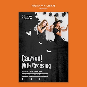 Halloween party poster template