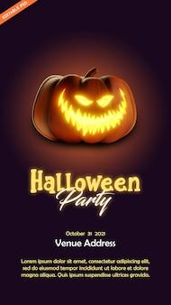 Плакат вечеринки в честь хэллоуина с иллюстрацией в стиле 3d