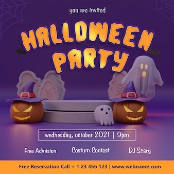 Шаблон баннера в социальных сетях для вечеринки на хэллоуин с фоном 3d-рендеринга