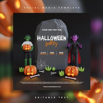Halloween party social media post template with zombie and vampire 3d render characte
