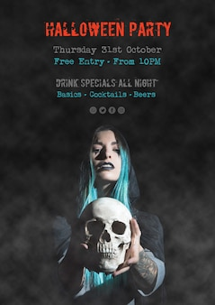 Halloween party special drinks poster