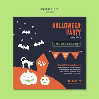 Halloween party square flyer with pumpkin