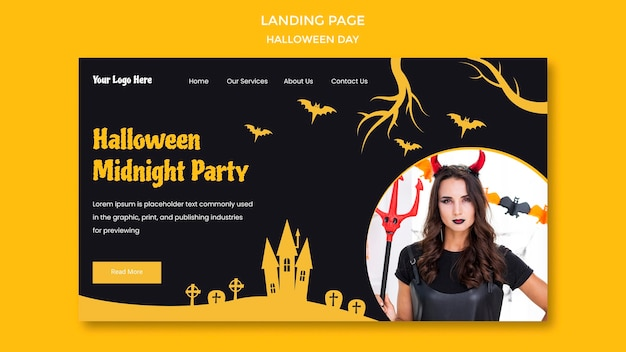Halloween party template landing page